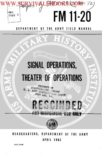 FM 11-20 ( Signal Operations, Theater of ... - Survival Books