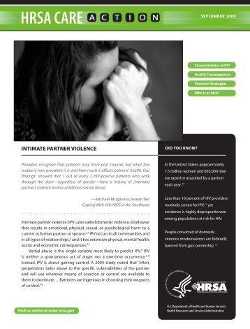 Intimate Partner Violence (IPV) - HRSA HIV/AIDS Programs