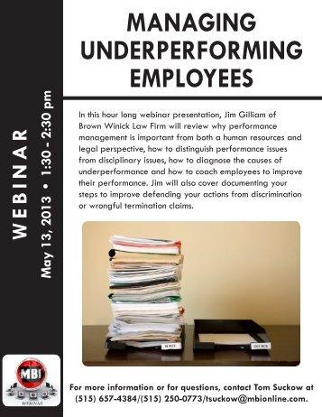 managing underperforming employees - Master Builders of Iowa