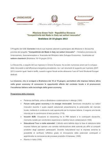 Il Progetto del GSE Corrente invita le sue imprese aderenti a ...
