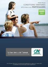 Nos tarifs au 1er janvier 2013 - Crédit Agricole Alpes Provence