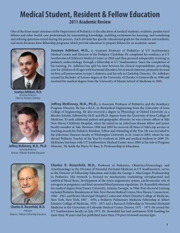 Medical Student, Resident & Fellow Education - UT Southwestern