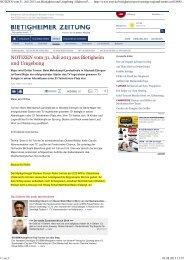 Südwest Presse Ulm; Bietigheimer Zeitung 31. Juli ... - Florian Roller