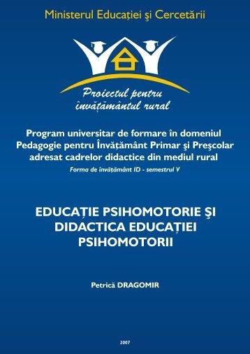 educaţie psihomotorie şi didactica educaţiei psihomotorii