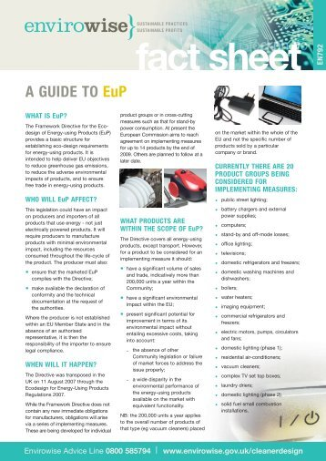 A guide to EuP (Energy-using products) (EN792) - Wrap