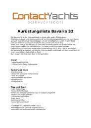 Aurüstungsliste Bavaria 32 - Contact Yachts