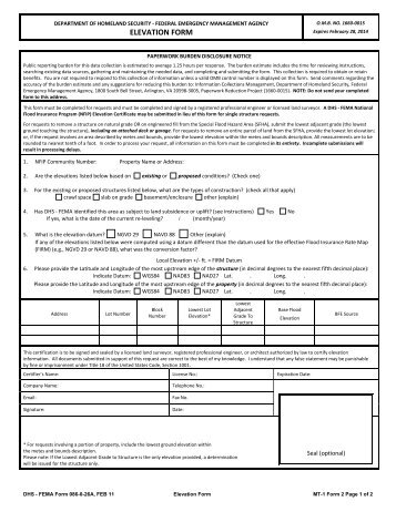 Elevation Certificate Form