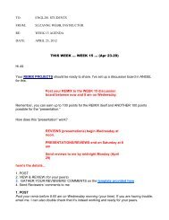 week 15 agenda - suzanne webb