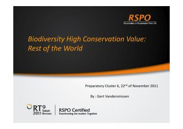 Biodiversity High Conservation Value: Rest of the World - RT9 2011