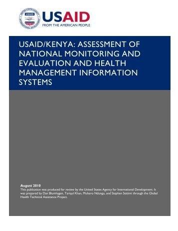 usaid/kenya: assessment of national monitoring and evaluation and ...