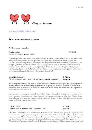 COUPS DE COEUR 2008 adultes - Médiathèque de Rillieux-la-Pape