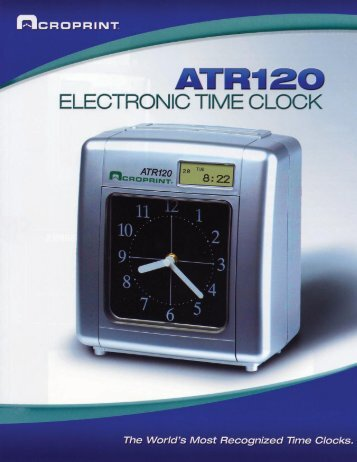 Download ATR-120 Product Flyer - Time Clock
