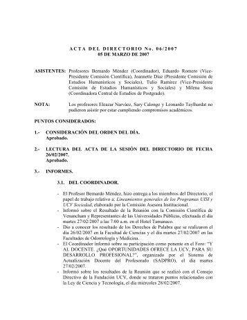 Directorio del 05/03/2007 - CDCH-UCV