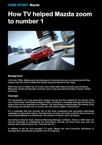 How TV helped Mazda zoom to number 1 - Think TV