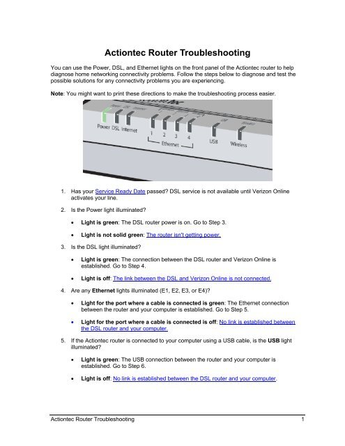 Actiontec Router Troubleshooting - Verizon