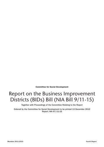 Report on the Business Improvement Districts (BIDs) Bill (NIA Bill 9 ...