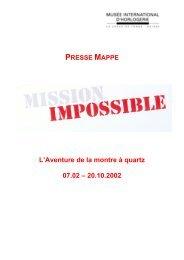 L'Aventure de la montre à quartz 07.02 – 20.10.2002 - Ville de La ...