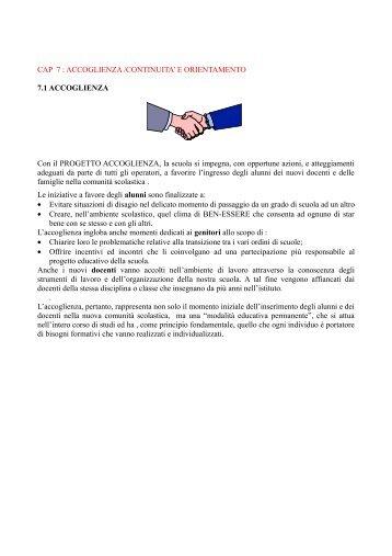 E ORIENTAMENTO 7.1 ACCOGLIENZA Con il PROGETTO ...