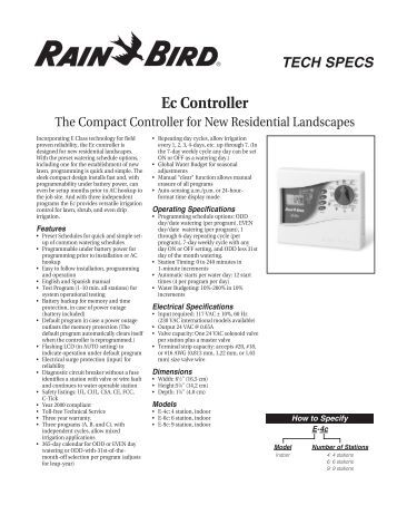 Rain Bird Watering System Manual