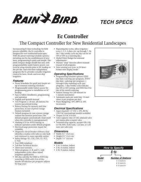 Rain Bird 'Ec' Controller Manual - SPRINKLER TALK