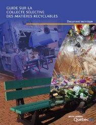 Guide sur la collecte sélective des matières recyclables (édition 2006)