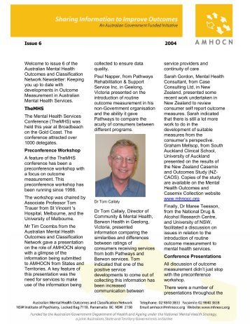 AMHOCN Newsletter Vol 1 Issue 6 - Australian Mental Health ...