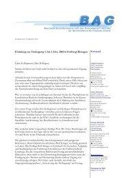Einladung zur Fachtagung 1. bis 3. Dez. 2004 in Freiburg/Breisgau ...