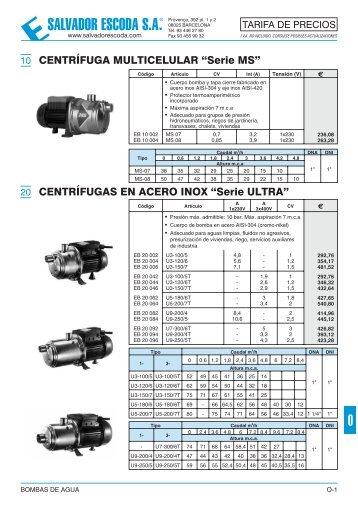 Tarifa de Precios - Bombas de Agua - Salvador Escoda SA