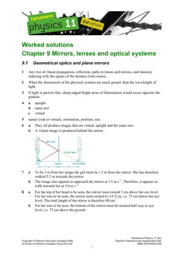 Worked solutions Chapter 9 Mirrors, lenses and optical ... - PEGSnet
