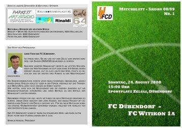 Matchblatt FC Dübendorf - FC Witikon 1a