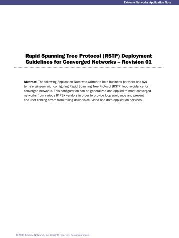 Rapid Spanning Tree Protocol (RSTP ... - Extreme Networks