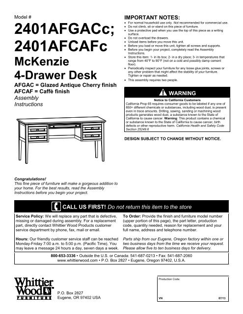 Remarkable Instructions Whittier Wood Furniture Pdpeps Interior Chair Design Pdpepsorg