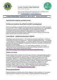 Piirikuvernöörin tiedote 2/2012-2013 - Suomen Lions-liitto ry