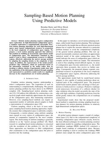 Sampling-Based Motion Planning Using Predictive ... - CiteSeerX