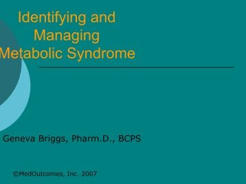 Identifying and Managing Metabolic Syndrome