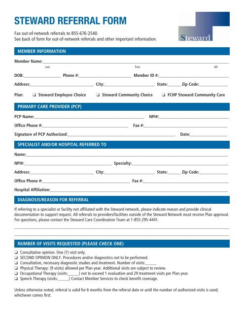 Print The Steward Referral Form Tufts Health Plan