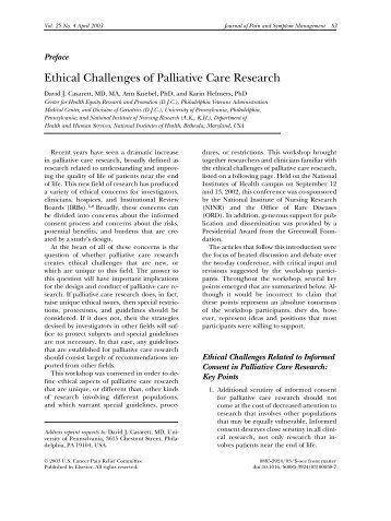 ethical case studies in palliative care End of life - ideas for practice: case study end of life care - holistic palliative care kate is a 51 year old woman with late stage ovarian cancer.