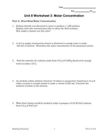 Unit 8 Worksheet 3: Molar Concentration