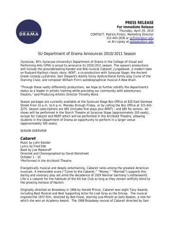 SU Department of Drama Announces 2010/2011 ... - Syracuse Stage