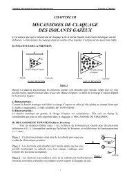 MECANISMES DE CLAQUAGE DES ISOLANTS GAZEUX