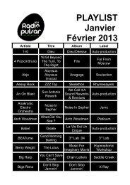 PLAYLIST Janvier Février 2013 Artiste Titre Album ... - Radio Pulsar