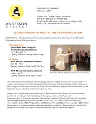 STUDENT SHOWS UP NEXT AT THE ANDERSON GALLERY