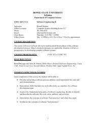 Syllabus - Bowie State University Department of Computer Science
