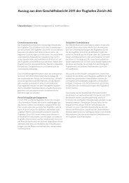 Auszug aus dem Geschäftsbericht 2011 der Flughafen Zürich AG