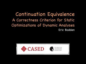 Continuation Equivalence - Prof. Eric Bodden, Ph.D.