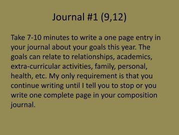 Journal #1 - Mr. Bailey @ Hamilton Heights HS