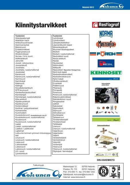 Kiinnitystarvikkeet luettelo - Koivunen Oy