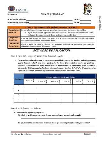 Guía de aprendizaje etapa 4 Trigonometría - Preparatoria 22