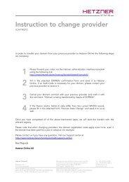 KK order for  .com, .net domains - Hetzner Online AG