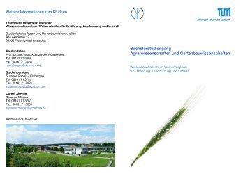 Bachelorstudiengang Agrarwissenschaften und ...